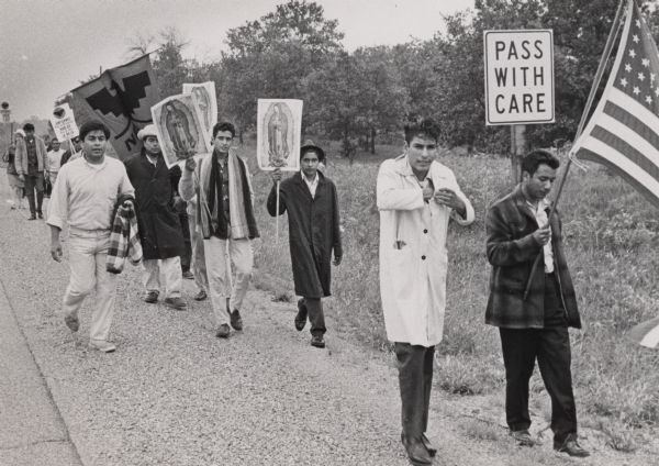 A group of migrant workers march to promote worker's rights. Photo Courtesy Wisconsin Historical Society