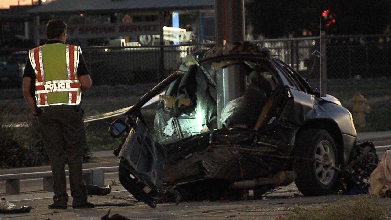 Man crashes into light rail pole