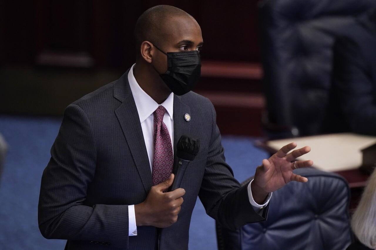 Omari Hardy speaks during Florida legislative session, April 30, 2021