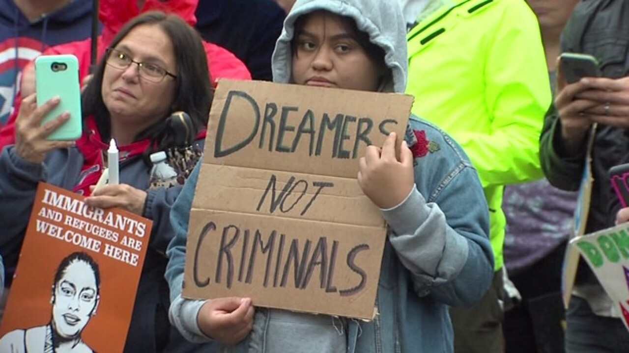 Demonstrators gather over DACA decision at Market Square Park