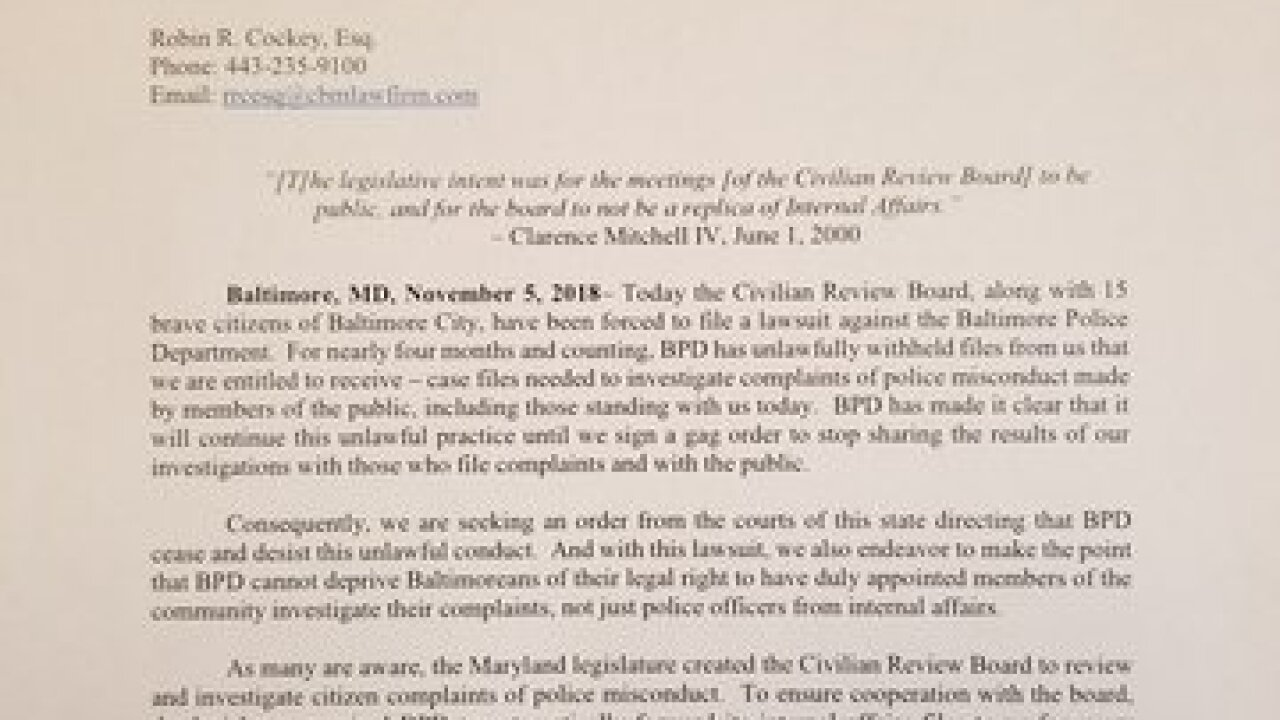 Board files lawsuit requesting BPD files