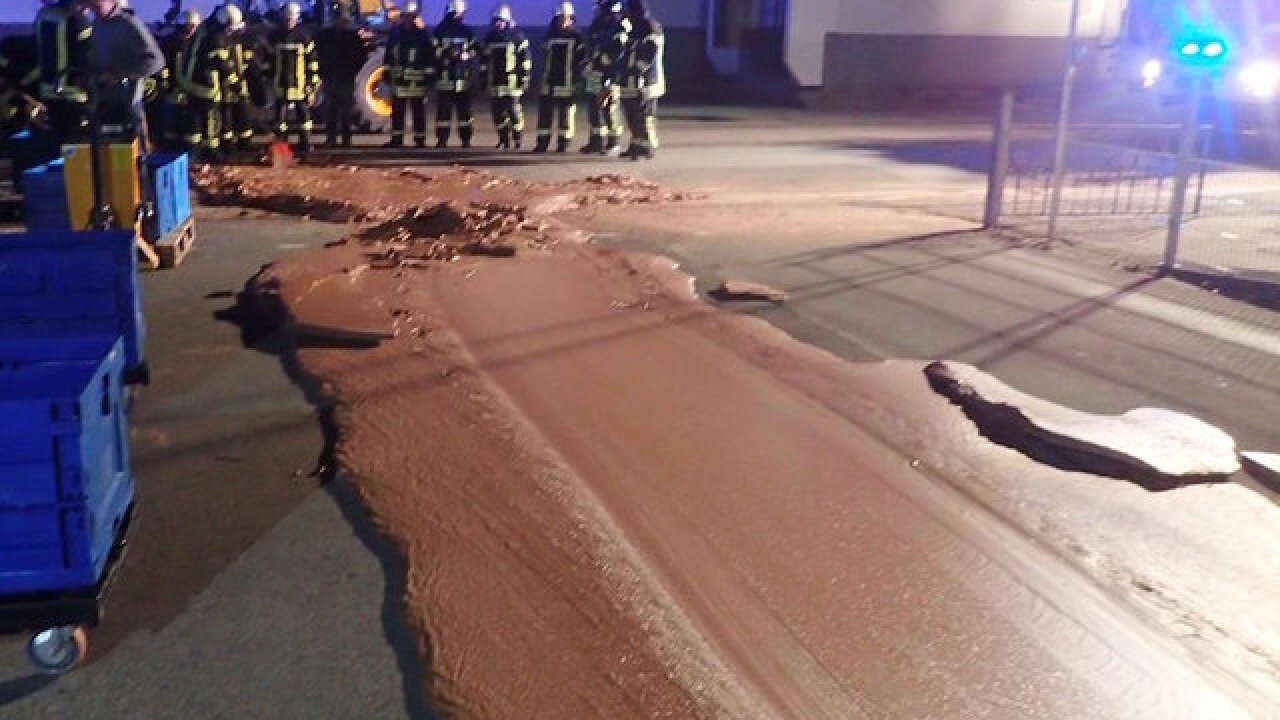 Leak causes chocolate river to flow out of German factory and down city street