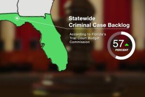 'Statewide Criminal Case Backlog' graphic
