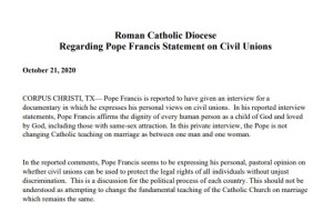 Diocese of Corpus Christi Statement
