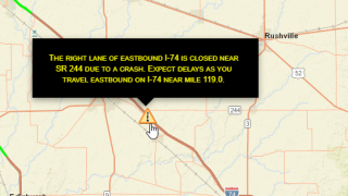 One person dead in crash involving overturned semi on I-74 in Shelby County