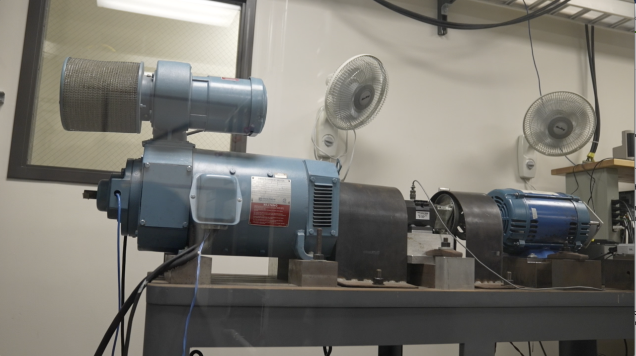 A motor being tested inside Foster's lab