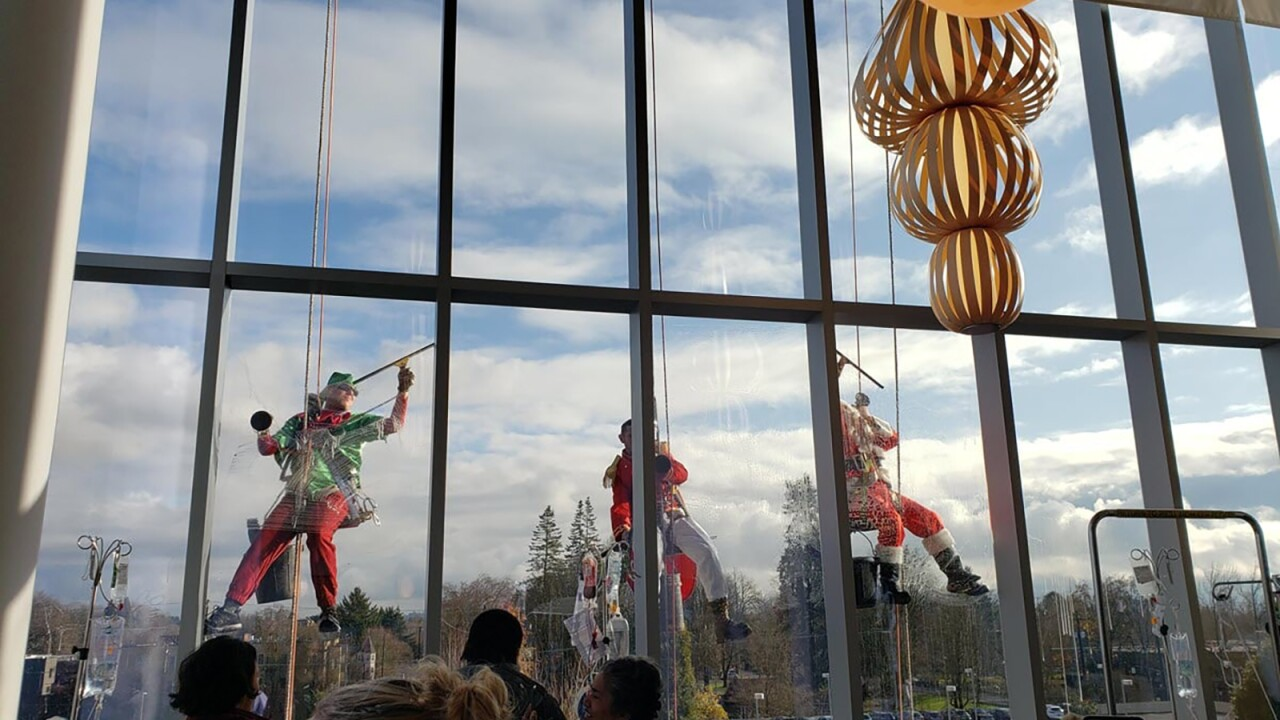 Rappelling Grinches, police siren light shows and hordes of football fans brighten the holidays for sick kids