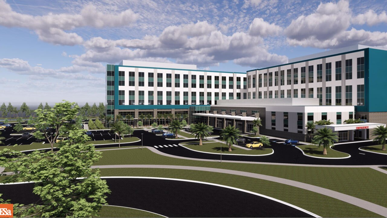 Rendering of proposed new hospital in Palm Beach Gardens