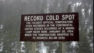 Rogers Pass marker of 70 degrees below zero