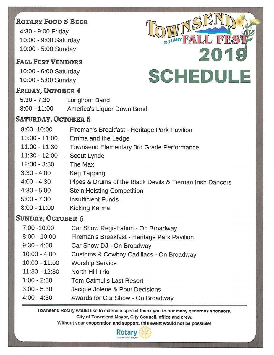 Fall Fest Schedule 2019