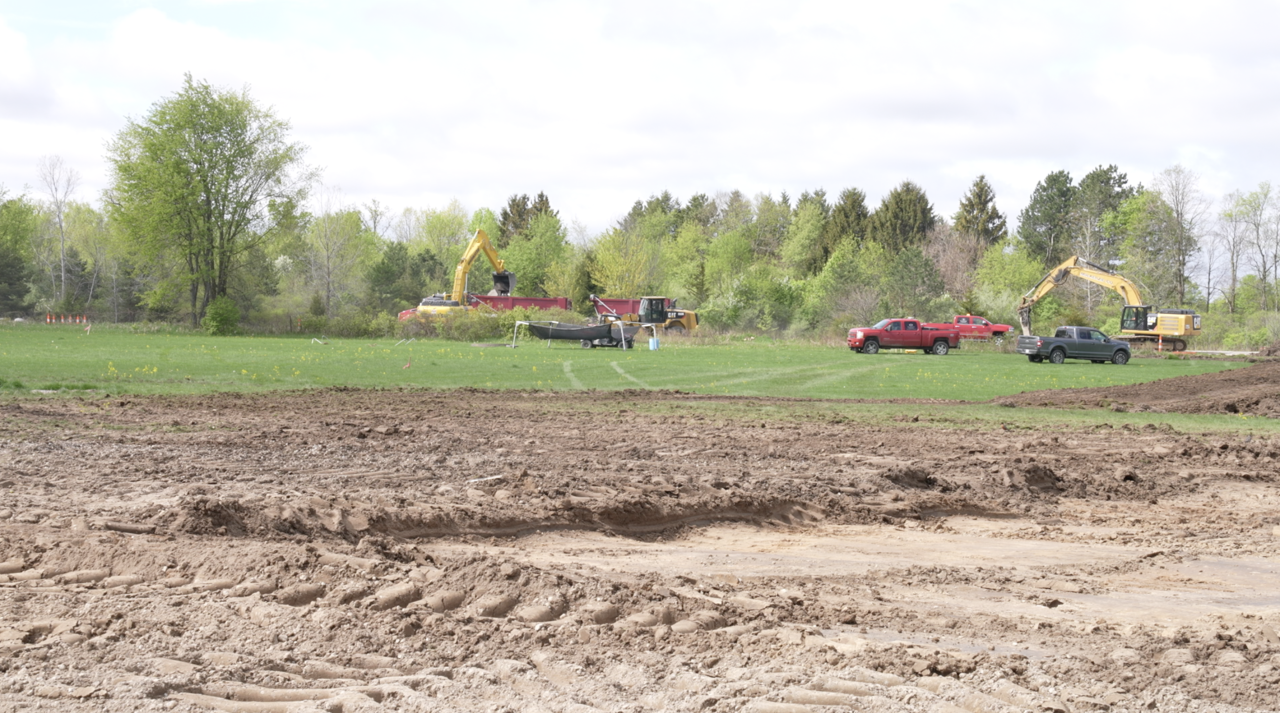 Crews are working on the roundabout project in Grand Ledge.