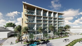 Artist rendering of a new mixed-use development proposed to be built at 115 North Federal Hwy. in Boynton Beach.