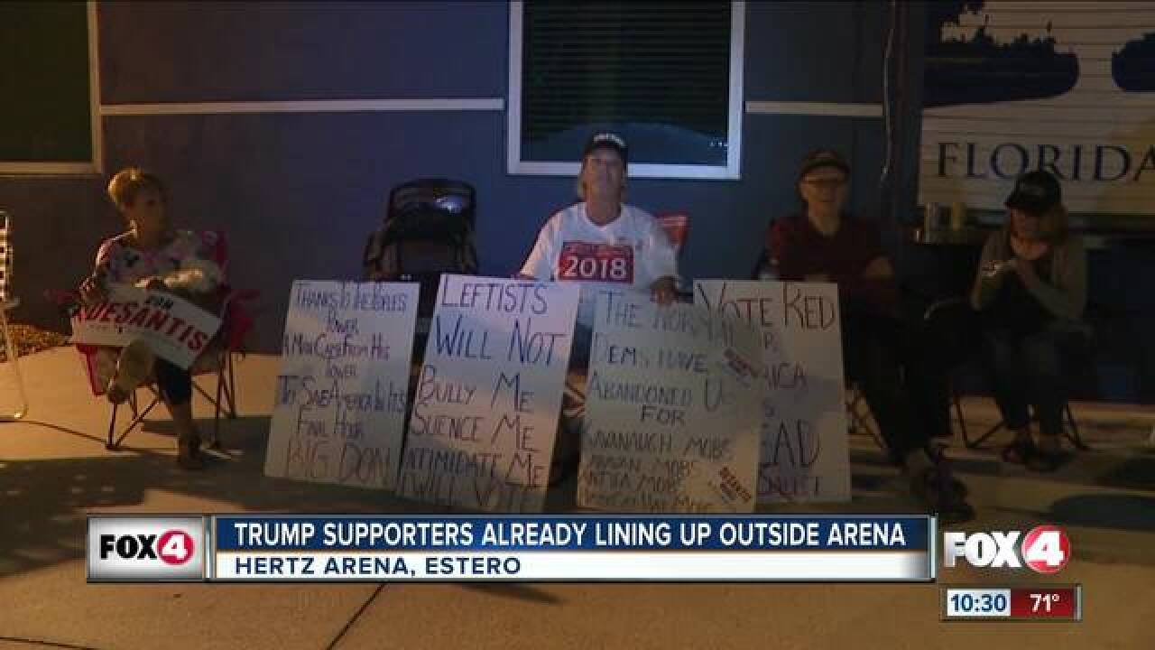 Trump supporters camp out for president's visit