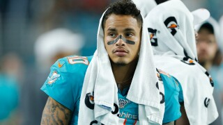 Kenny Stills #10 of the Miami Dolphins looks on from the sideline against the Atlanta Falcons during the second quarter of the preseason game at Hard Rock Stadium on August 08, 2019 in Miami, Florida. (Photo by Michael Reaves/Getty Images)