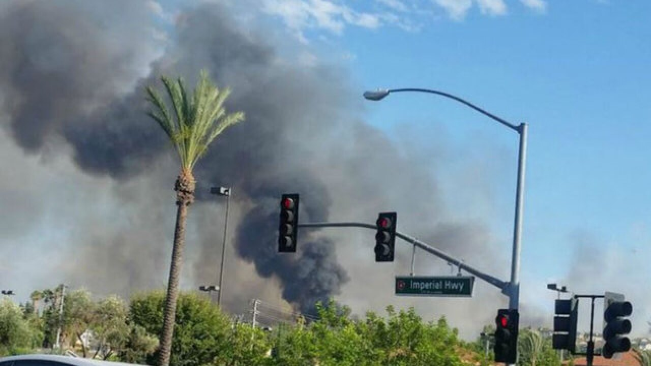 Fullerton-area brush fire burns nearly 80 acres
