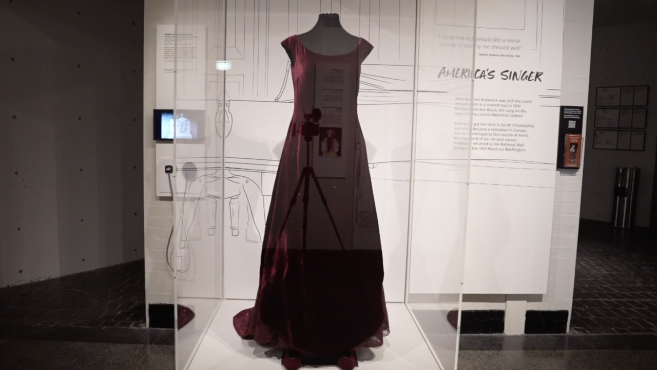 Also on display is a gown once worn by opera star, Marian Anderson, whose 40-year-career spanned the globe. She is also from Philadelphia and was involved in the Civil Rights Movement.