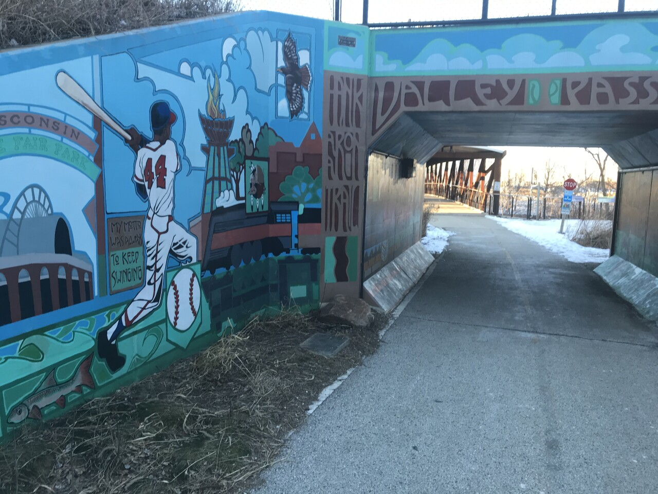A painting of Hank Aaron near the trail bearing his name.