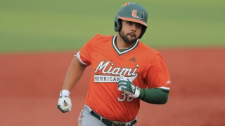 Alex Toral, Miami Hurricanes, runs bases in 2019