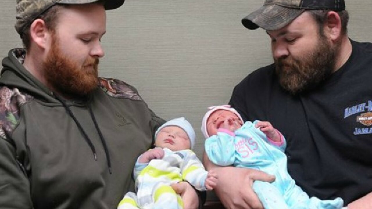 Brothers' babies arrive hours apart at hospital