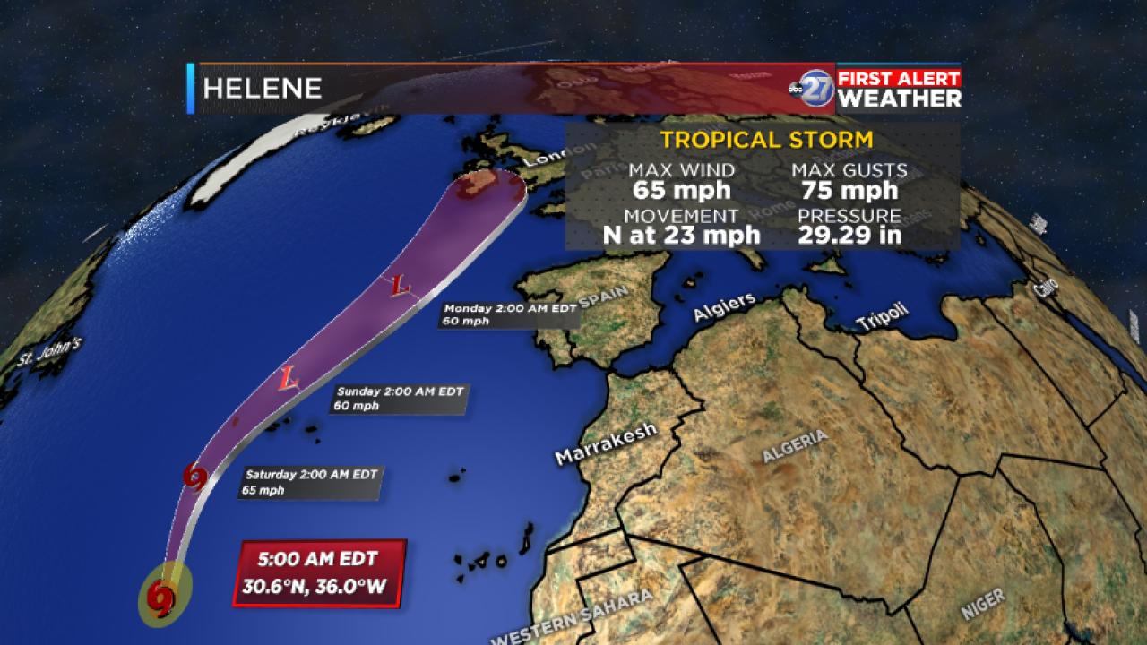 Tropical Storm Helene Advisory and Forecast track (5:00am 09/14/2018)