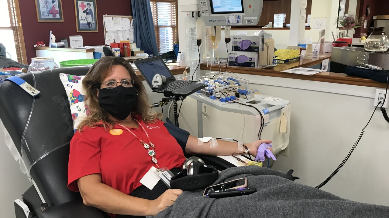 Kristin Marlow with the American Red Cross donates Convalescent Plasma.