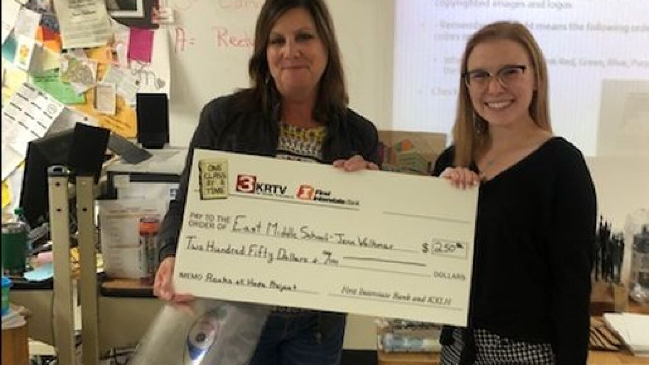East Middle School art teacher Jenn Volkmar says the $250 will help further a 'kindness project' they've been working on.