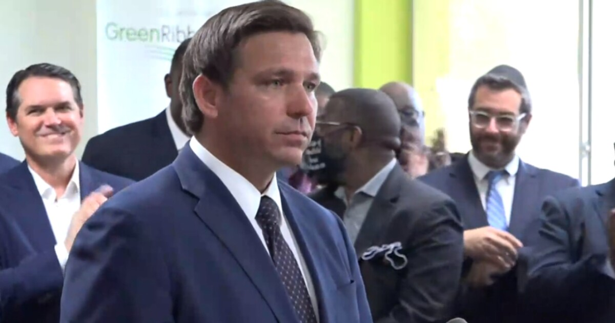 florida gov  Ron DeSantis holds a news conference at Christ the King Catholic School in Jacksonville on May 11, 2021