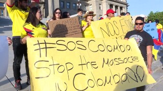 Locals gathered at the statehouse in Boise to raise awareness and stand united against violence amid the ongoing Colombian protests.