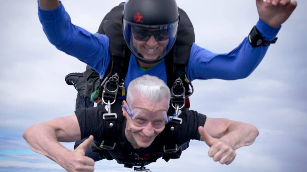 Anderson Cooper jumps out of plane at Skydive Suffolk