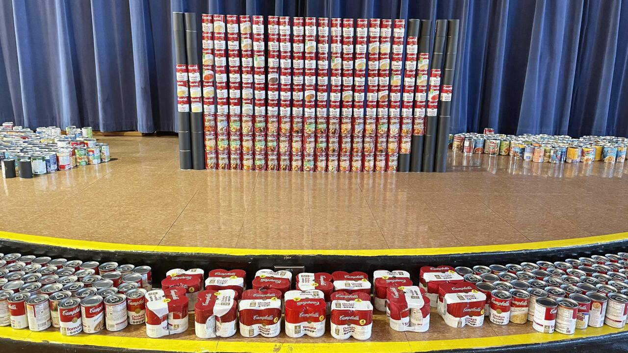 """Cans collected for """"Soup-er Bowl"""""""