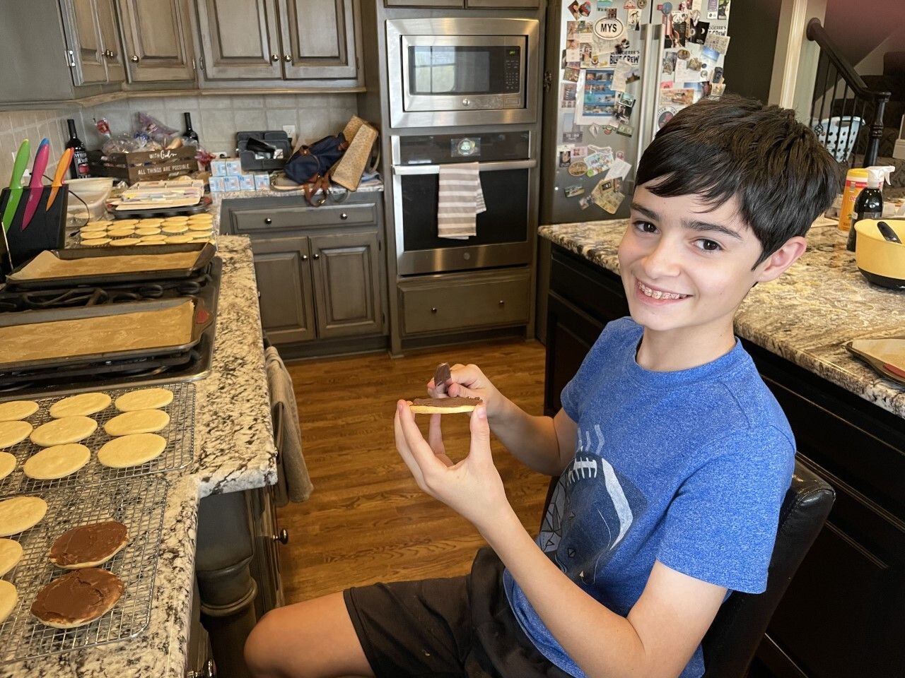 Riordan baking cookies to sell for the Negro Leagues Baseball Museum