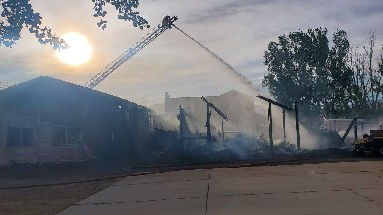 Barn fire at 5557 West 3700 South in Hooper