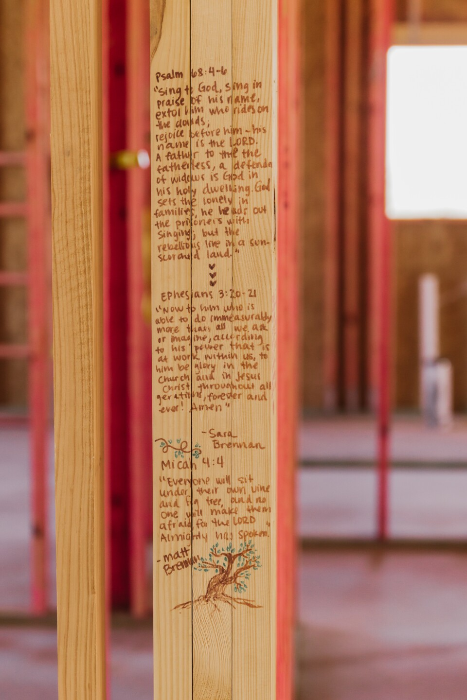 Bible Verses written inside the home on dedication day January 2021