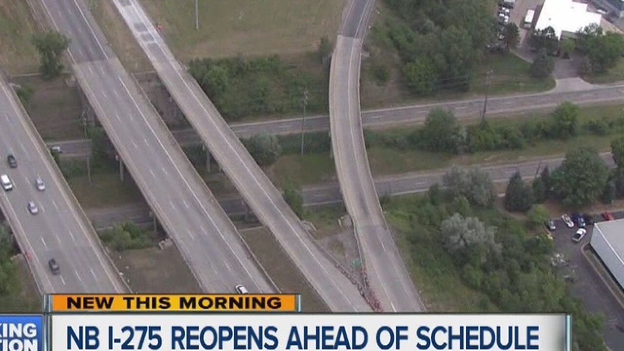 MDOT begins reopening northbound I-275
