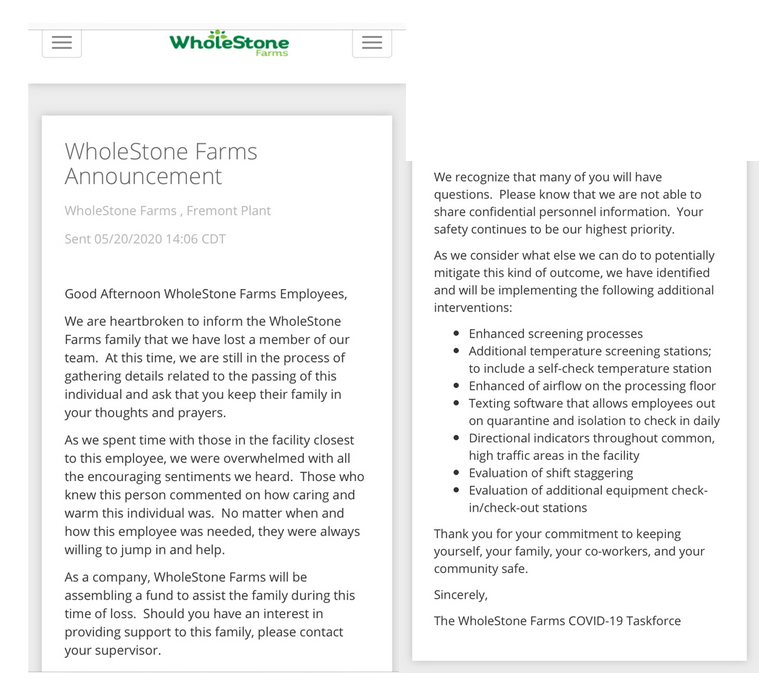 WholeStone Farms sent this message to employees on May 20.