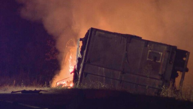 PHOTOS: Fiery Crash Closes I-40 In Dickson County