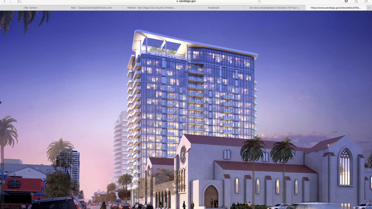 20-story Bankers Hill building rendering