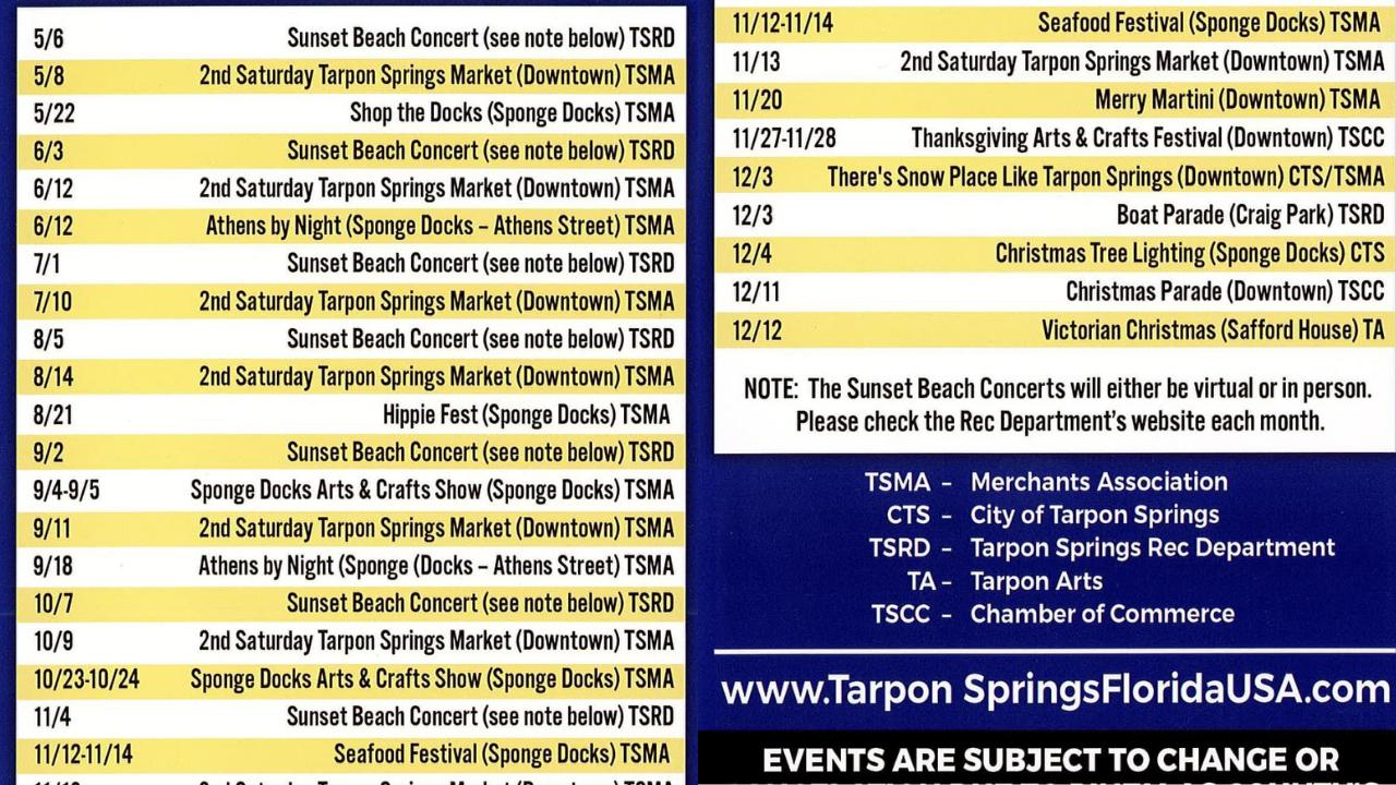 Tarpon Springs Summer Events