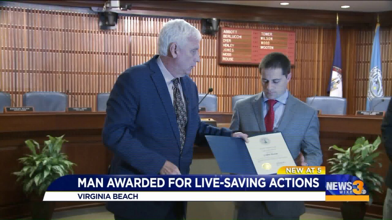Virginia Beach man honored for helping rescue man contemplating suicide on Lesner Bridge
