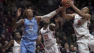 Radford shot lifts Hokies men's basketball in 2nd OT, 79-77, over UNC