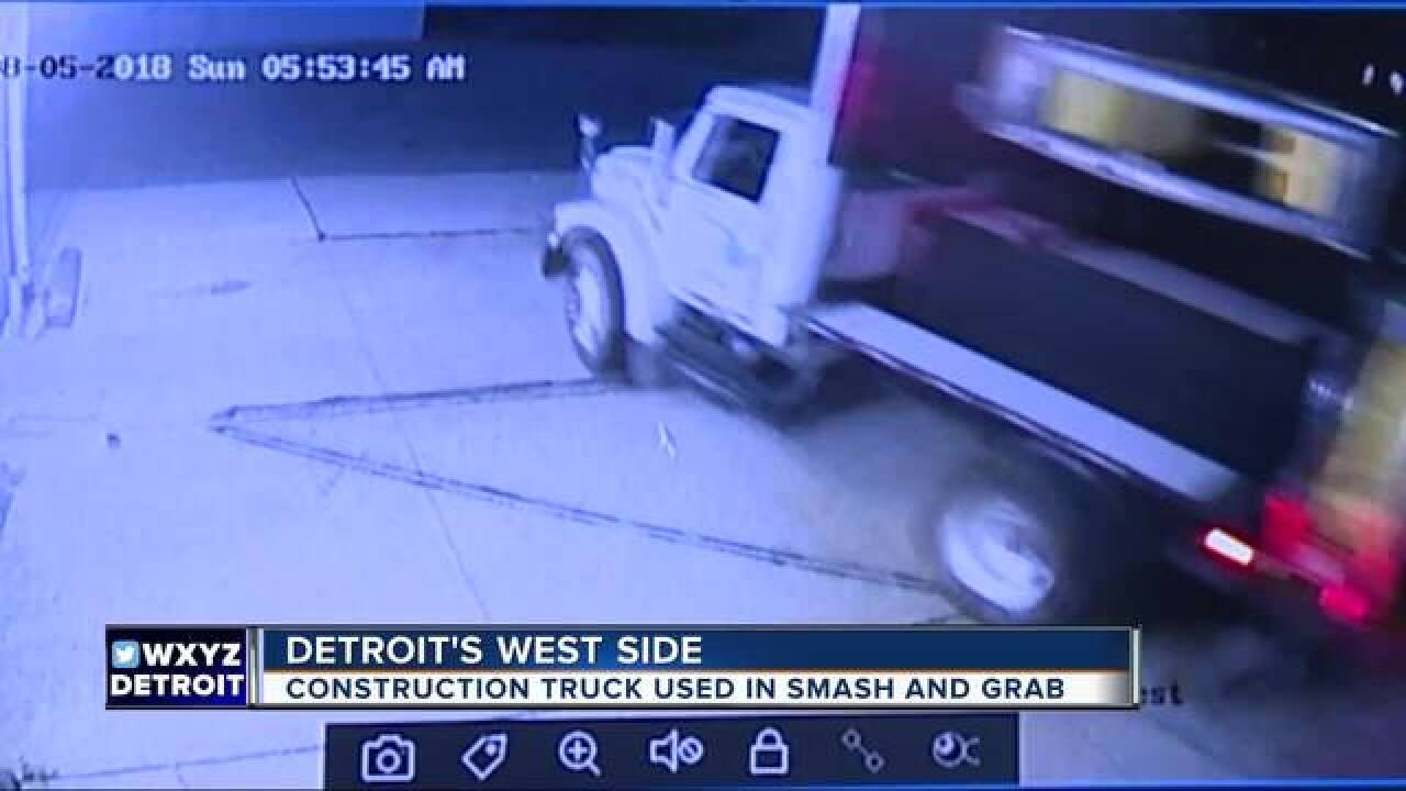 Construction truck used in smash and grab