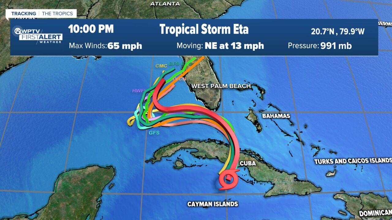 Tropical Storm Eta 10 p.m. Saturday computer models