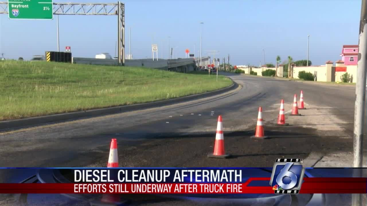 Diesel clean-up aftermath near Dolphin Park