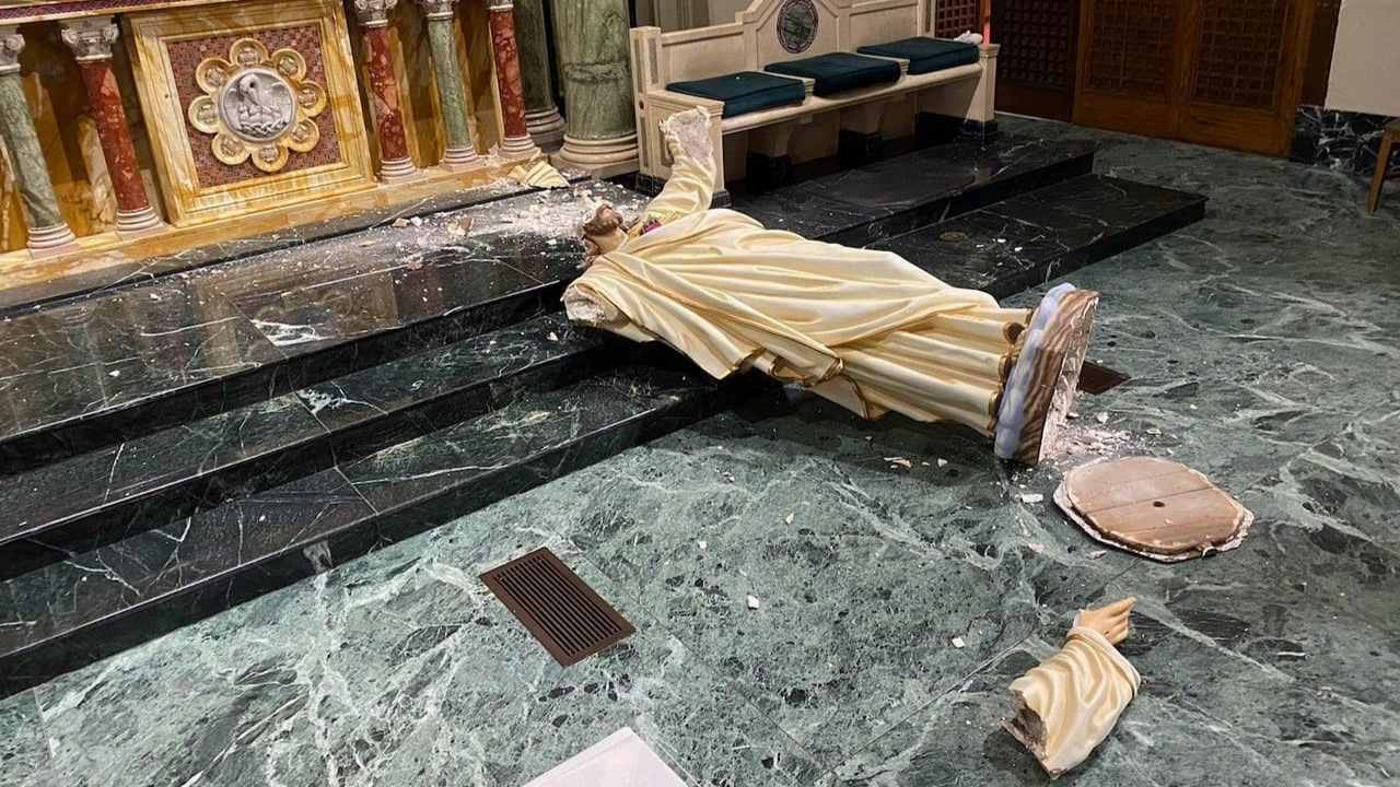 Cathedral in Texas vandalized, 90-year-old statue destroyed