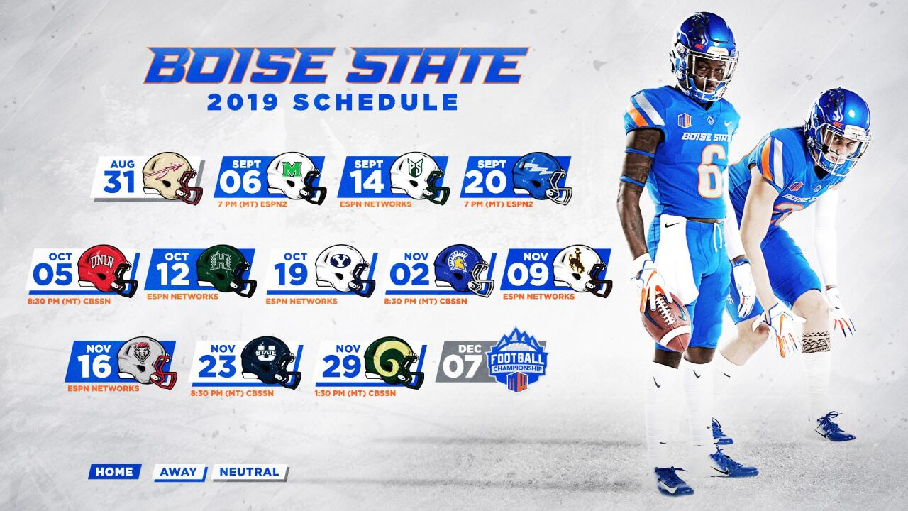 Boise State 2020 Football Schedule Boise State Football 2019 schedule released
