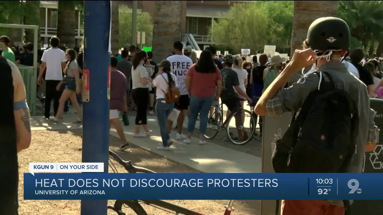 UArizona protest takes place in triple digit heat