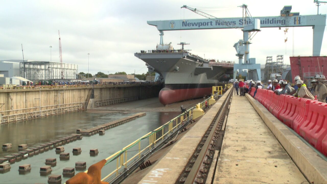 A major milestone for a new carrier: PCU Kennedy dry dock flooded in Newport News