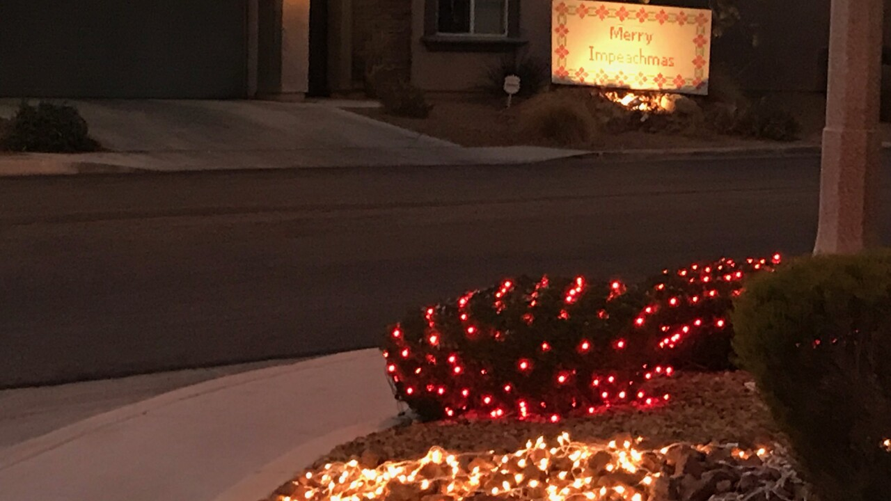 The lights and decorations are a sign of the holiday season but there is another sign that is turning heads in the southern edge of Las Vegas.