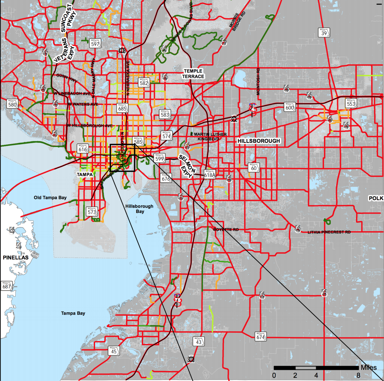MAP - DANGEROUS ROADS FOR BICYCLISTS HILLSBOROUGH COUNTY.png