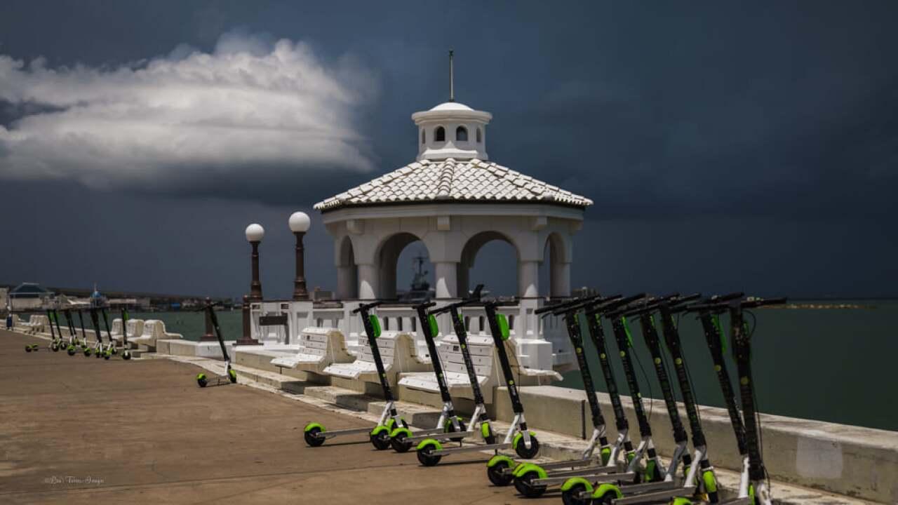 Dark clouds looming in Downtown Corpus Christi - Photo By: FB Coastal Bend Weather Watcher Lisa Mejia Torres